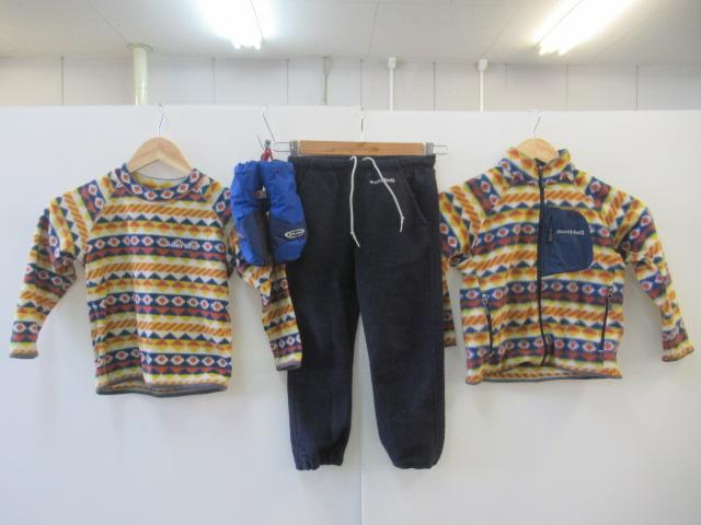 mont-bell(モンベル) キッズフリースジャケット、長袖、パンツ、グローブセット